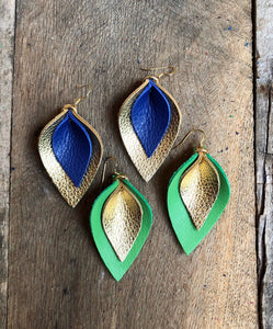 Katie - Double Layered Leather Leaf Shaped Earrings in Navy Blue and Metallic Gold.