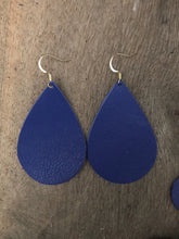 Navy Blue Teardrop Leather Earrings