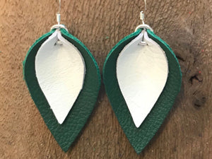 Katie - Double Layered Leather Leaf Shaped Earrings in Dark Green and White