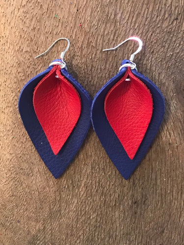Katie - Double Layered Leather Leaf Shaped Earrings in Navy Blue and Red