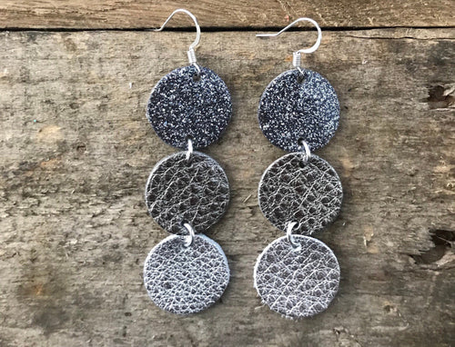 Maureen - MIDNIGHT -  Glitter Gunmetal Patent Leather, Gunmetal and Silver Leather Circle Drop Earrings.