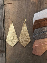 Skylar- long geometric leather earring.