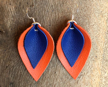 Katie - Double Layered Leather Leaf Shaped Earrings in Navy Blue and Orange