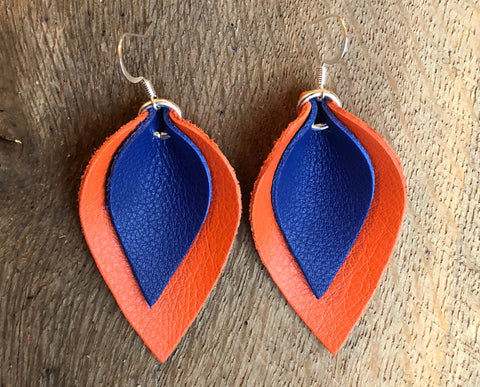 katie-double-layered-leather-leaf-shaped-earrings-in-navy-blue-and-orange