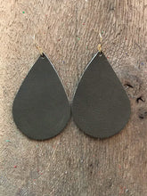 Khaki olive Green Teardrop Leather Earrings