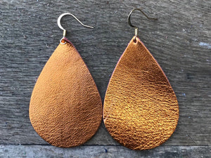 Electric Apricot Metallic Leather Teardrop Earrings