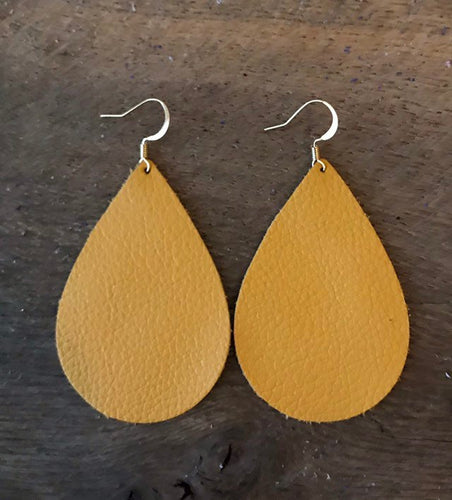 Light Mustard Teardrop Leather Earrings