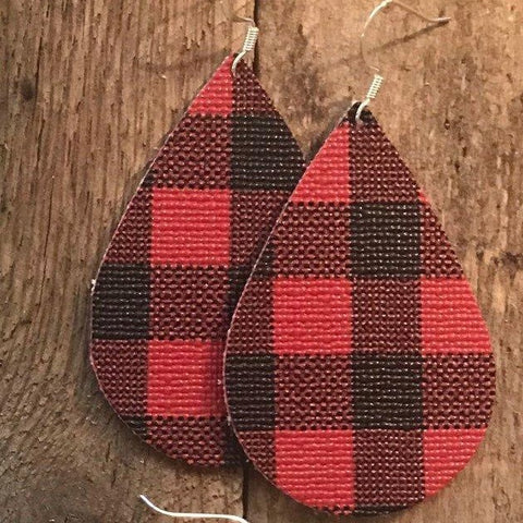 red-and-black-buffalo-check-teardrop-vegan-earrings