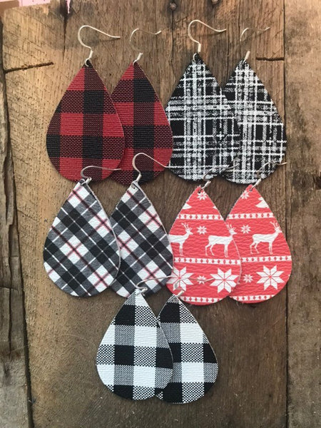 tartan-plaid-teardrop-leather-earrings