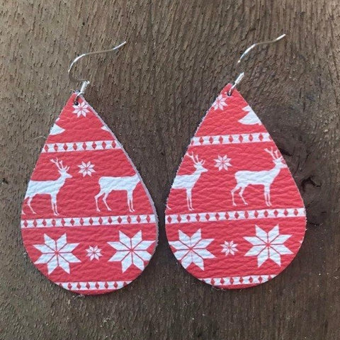 christmas-sweater-teardrop-leather-earrings
