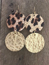 Lil' CoCo - Leopard and Gold Circle Dangle Leather Earrings.