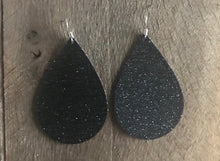Smooth Black Glitter Vegan Leather Earrings.