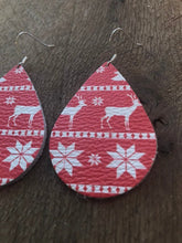 Christmas Sweater Teardrop Leather Earrings.