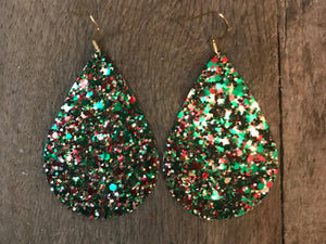 Jingle Bell Teardrop Glitter Vegan Leather Earrings