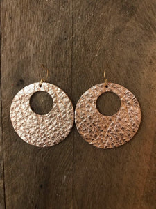Ashley - Leather Circle with Cut Out Earrings