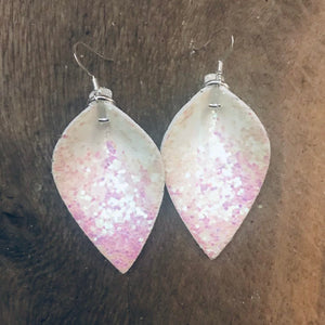 Katie - Two sided! Glitter & Floral Vegan Leaf Shaped Earrings in Blush Pink Glitter and Soft Floral