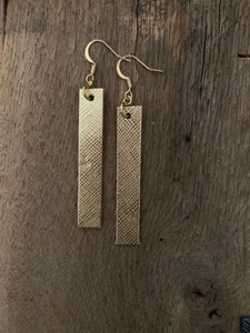 Joanna - Saffiano Leather Bar Rectangle Earrings