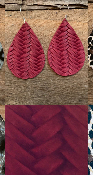 fishtail-braid-raspberry-leather-earrings