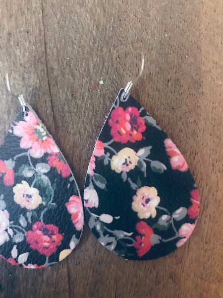 black-floral-teardrop-leather-earrings