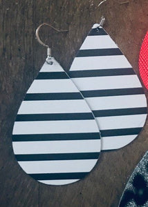 Black and Whote Striped Teardrop Leather Earrings.