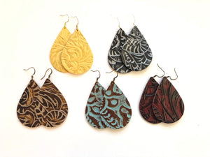 South Western Tooled Leather Earrings