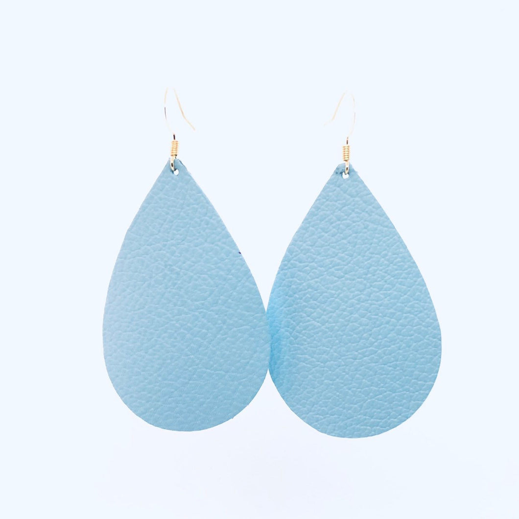 Light Sky Blue Teardrop Leather Earrings