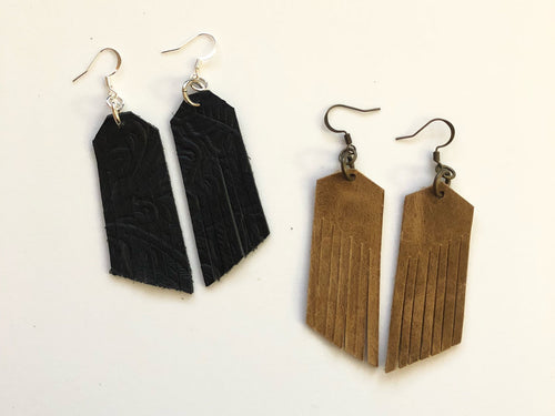 South West Leather Fringe Earrings