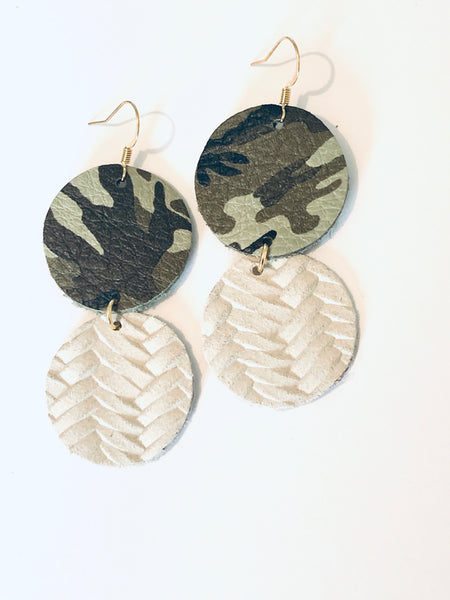 Lil' CoCo - Patterned and Solid Circle Dangle Leather Earrings.