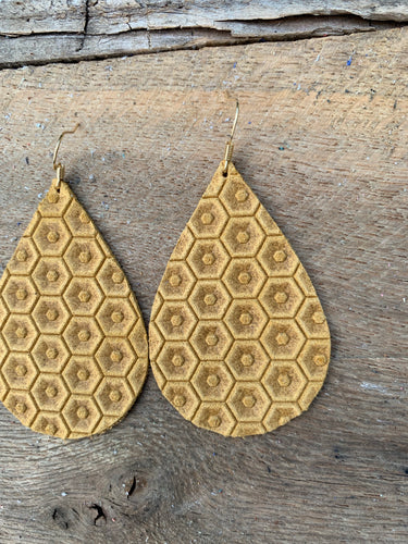 Mustard Yellow Honeycomb Leather Earring
