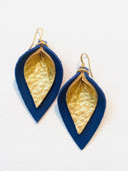 katie-double-layered-leather-leaf-shaped-earrings-in-navy-blue-and-metallic-gold