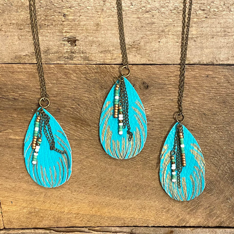 Turquoise Feather Necklaces