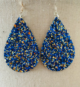 Blue and Gold  Multi Colored Chunky Glitter Vegan Leather Earrings.