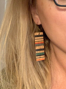 Wide Joanna - Stripe Cork and Leather Bar Rectangle Earrings