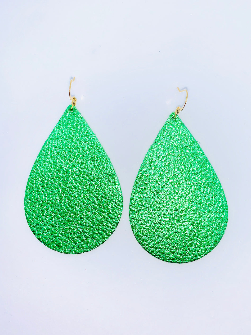Metallic Green Teardrop Leather Earrings