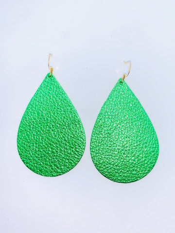 metallic-green-teardrop-leather-earrings