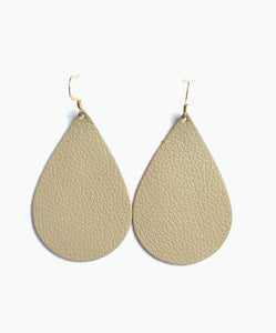 Clay (beige)  Teardrop Leather Earrings