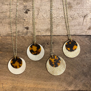 Tortoise Resin And Leather Necklaces