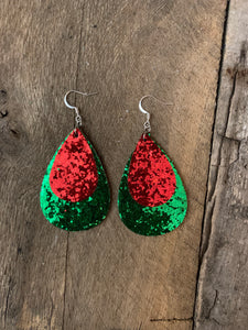 Double Teardrop Glitter green and red