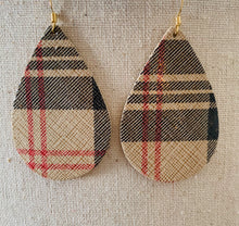 Tan, black and red Shimmer Teardrop Leather Earrings.