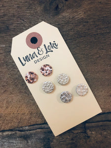 Meghan - Leather Circle Stud Earrings Set - Rose Gold Chunky Glitter, Champagne, Silver