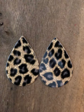 Glitter Leopard Teardrop Vegan Leather Earrings (Patent Black & Gold)