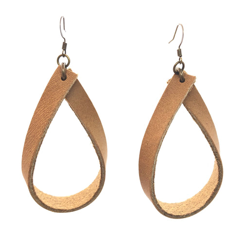 Madison - Tan Leather Hoop Earrings