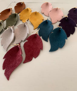 Alise - Suede Feather Shaped Earrings