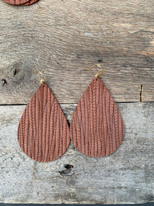 Brown Vine Leather Teardrop Earring