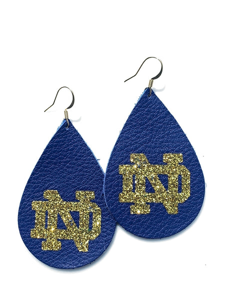 University Of Notre Dame ND Logo Teardrop Leather Earrings - Officially Licensed Product