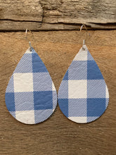 Blue and White Buffalo Check Leather Earrings