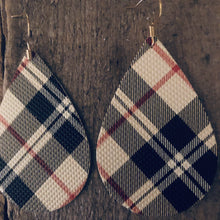 Plaid Tartan (red, camel, black and white) Vegan Leather Teardrop Earrings.