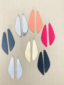 Wendy- Long Blade Shaped Leather Earrings