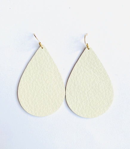 Bone colored (cream) Teardrop Leather Earrings