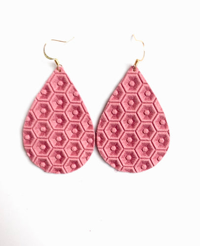 Pink Honeycomb Leather Earring